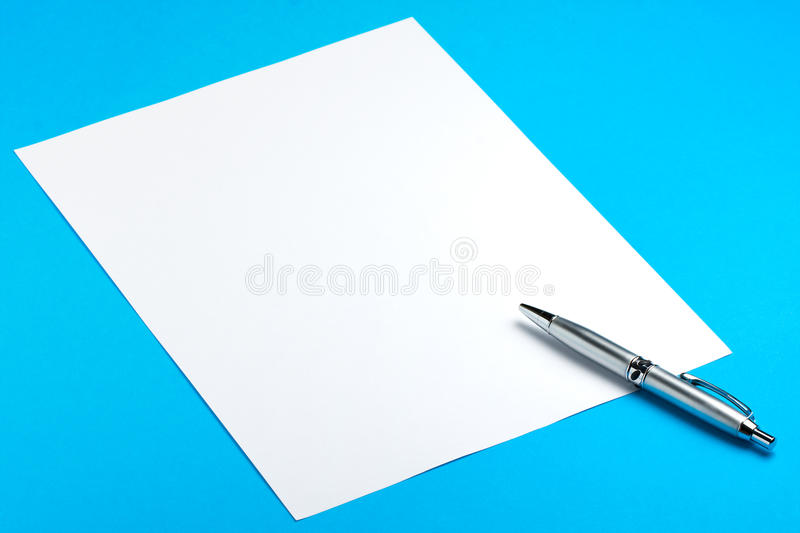 Blank Paper Sheet with Pen royalty free stock photo
