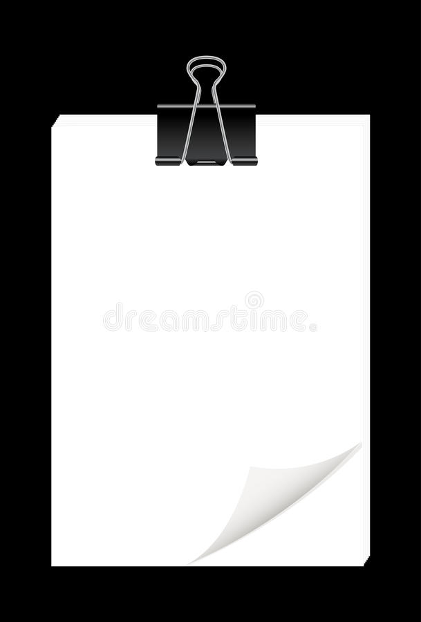 Blank paper sheets with black metal paper clips. A blank paper sheets with black metal paper clips vector illustration