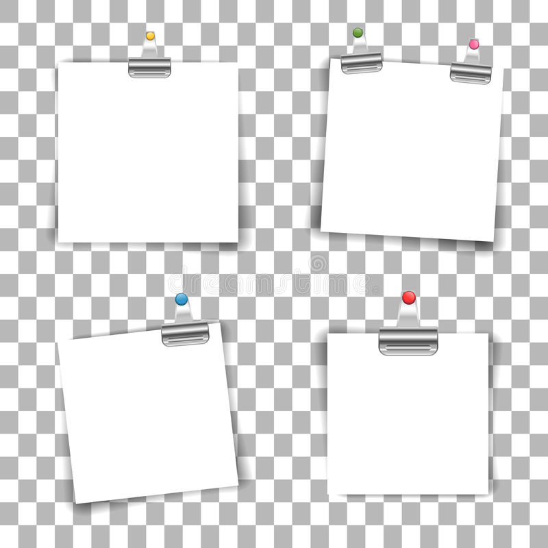 Blank paper sheets. With colored push pin and binder clip on transparent background. Vector illustration royalty free illustration