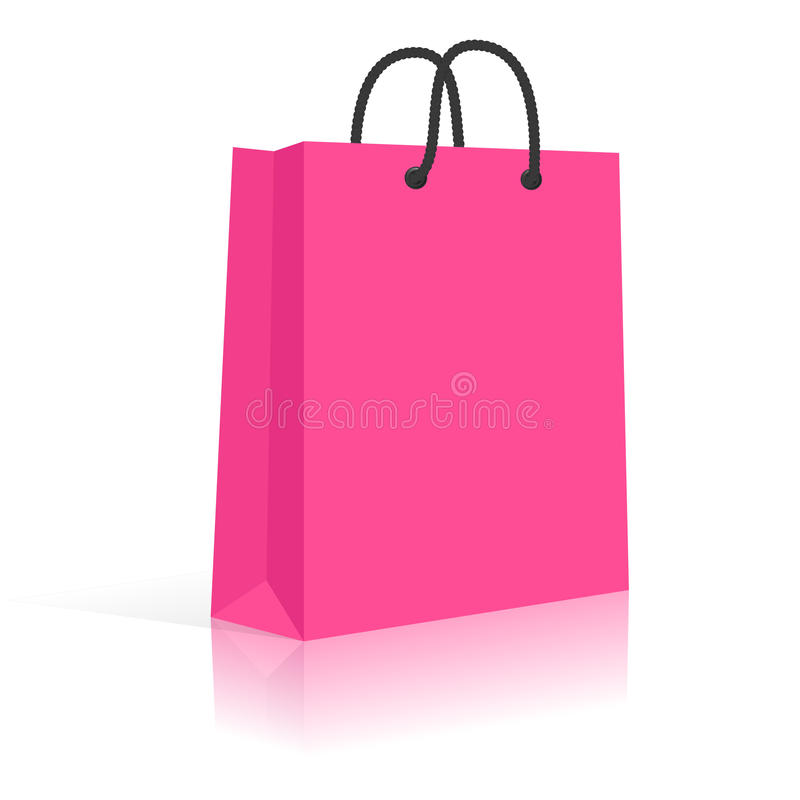 Blank Paper Shopping Bag With Rope Handles. vector illustration