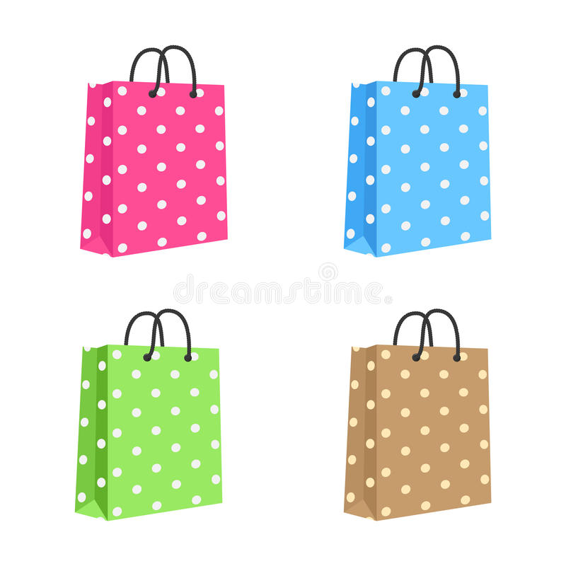 Free Blank Paper Shopping Bag With Rope Handles. Set Royalty Free Stock Image - 30901846