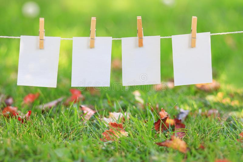 Blank paper signs hanging in a row royalty free stock photography