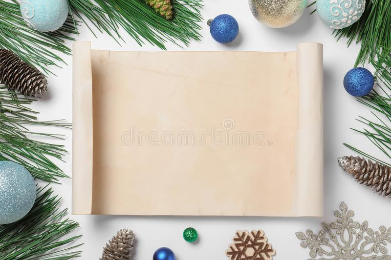 Blank paper with space for text and Christmas decor on white background. Letter to Santa Claus. Blank paper with space for text and Christmas decor on white royalty free stock photo