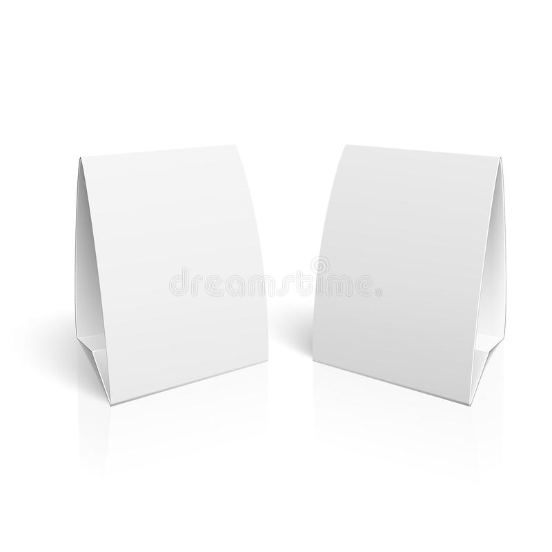 Blank paper table cards. Blank paper table cards on white background with reflections. Vector illustration. EPS10 royalty free illustration