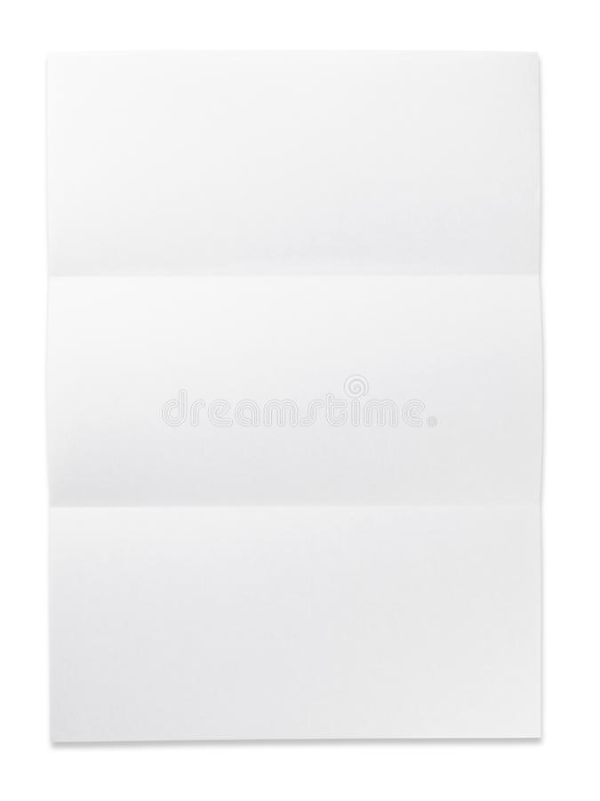 Free Blank Paper With Fold Mark. Isolated On White. Royalty Free Stock Photography - 11468617