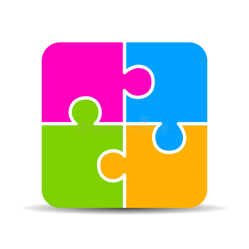 Blank 4 part puzzle chart. On white background royalty free illustration