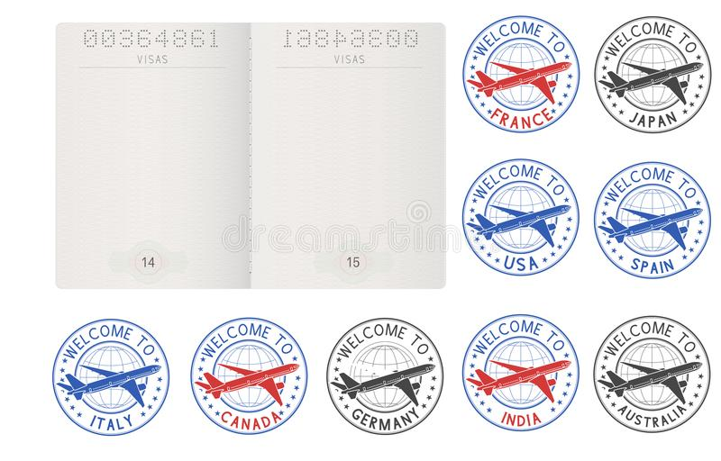 Blank passport pages and decorative travel stamps vector illustration
