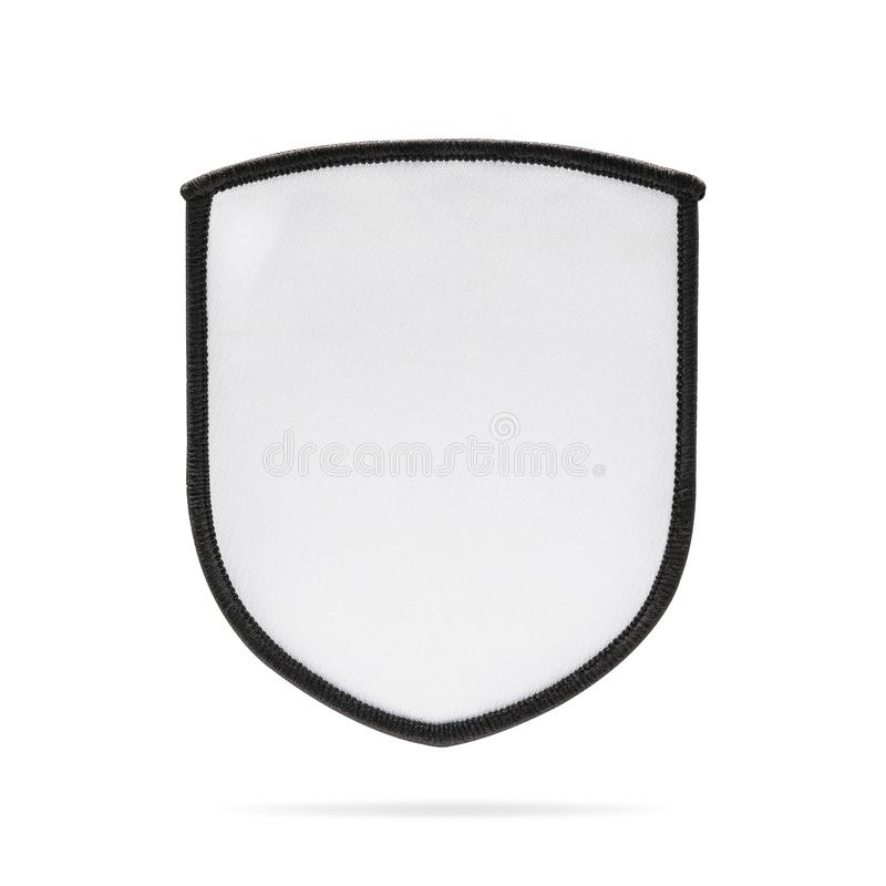 Blank patch or fabric label on isolated background with clipping path. White logo team or emblem for montage or your design. Blank patch or fabric label on royalty free stock image