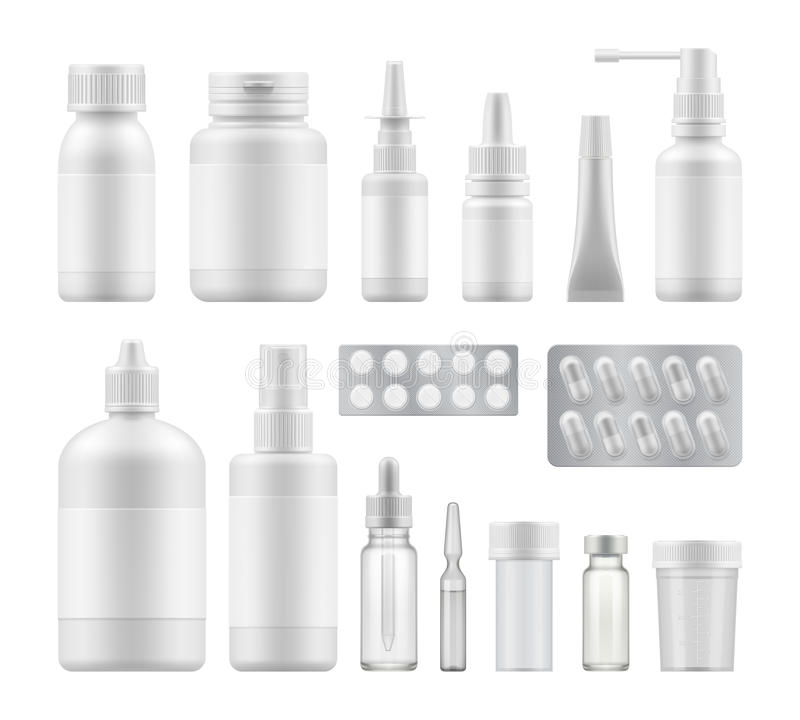 Blank pharmaceutical medical packaging. 3d blank pharmaceutical medical packaging: container for supplement, spray bottle for drugs. Mockup of clean pack for vector illustration