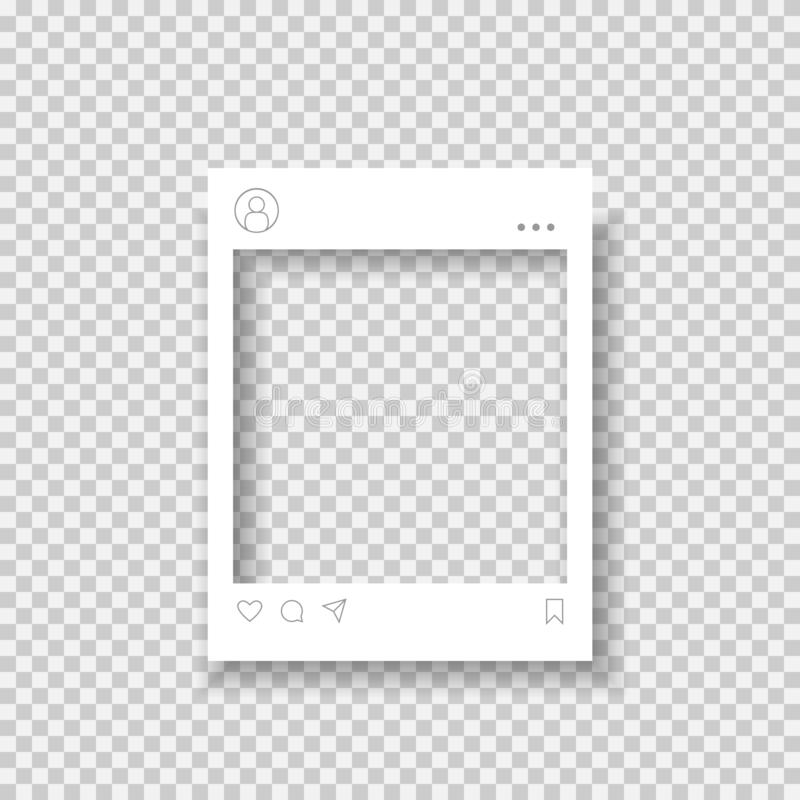 Blank photo frame. Social media network photo frame with heart, message and chart icons stock illustration