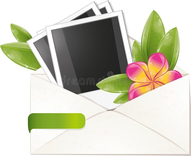 Blank photo frame with frangipani in envelope