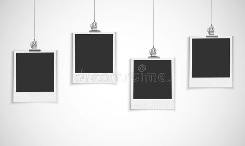 Blank Photo Frame Hanging On A Line With Bulldog Clip Stock Vector ...