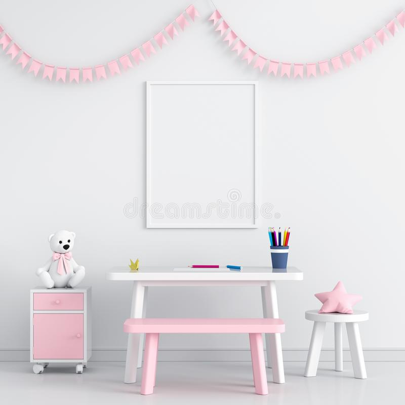 Blank photo frame for mockup in child room, 3D rendering royalty free illustration