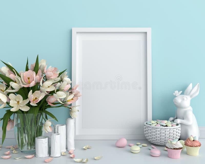Blank photo frame for mockup on floor, easter concept, 3D rendering stock photo