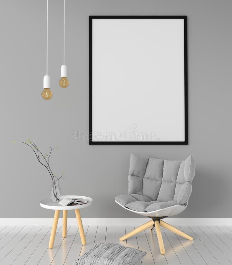 Blank photo frame for mockup in living room, 3D rendering royalty free illustration