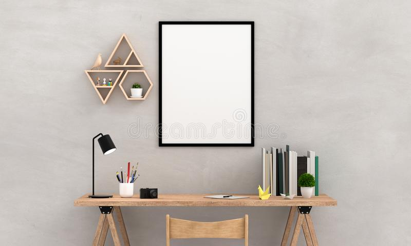 Blank photo frame for mockup on wall, 3D rendering royalty free illustration
