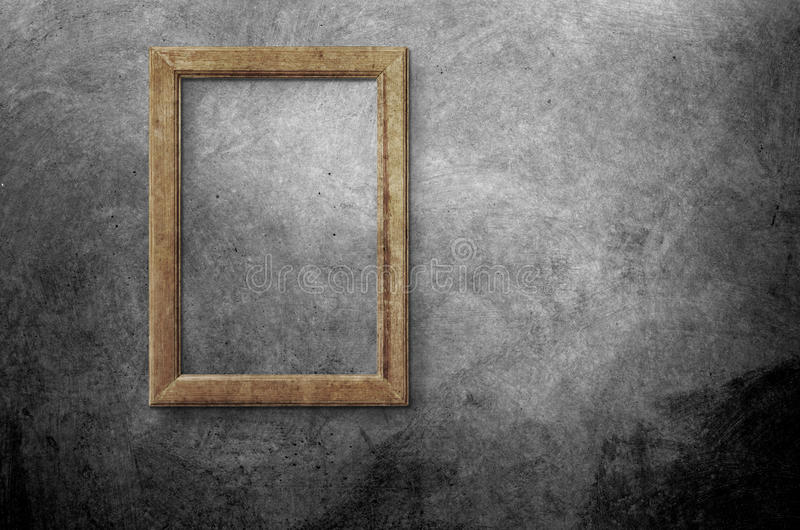 Blank photo frame on old wall vector illustration