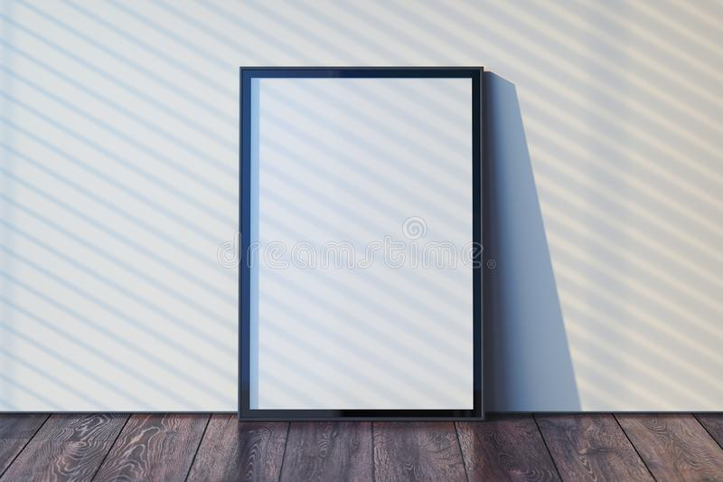 Blank photo frame with blank poster on wooden floor next to light walls, 3d rendering royalty free illustration