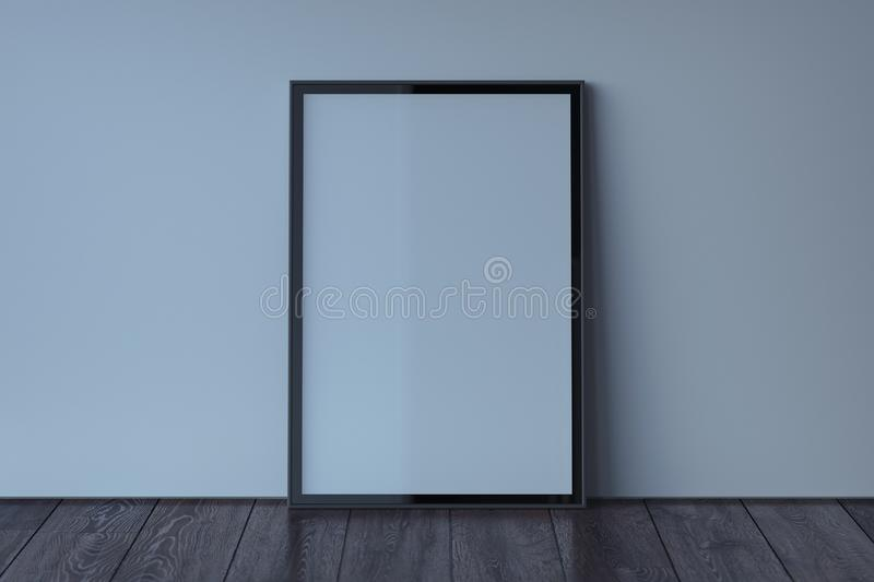 Blank photo frame with blank poster on wooden floor next to light walls, 3d rendering vector illustration
