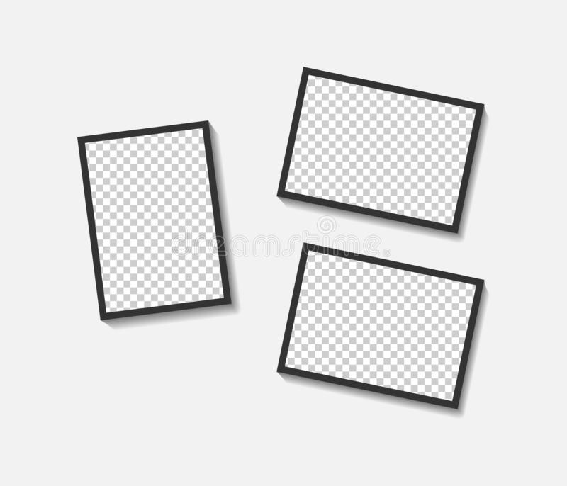 Blank photo frame set hanging on a clip. Retro vintage style. Black empty place for your text or photo. Realistic detailed photo. Icon design template eps 10 vector illustration