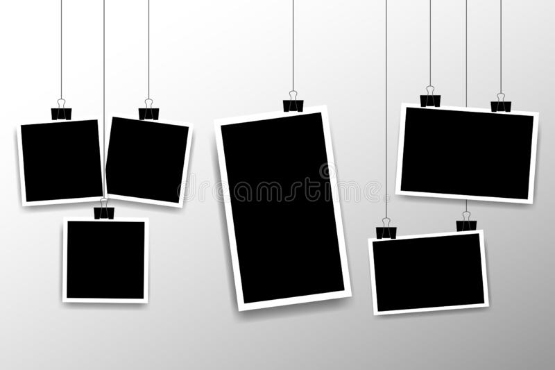 Blank photo frame set hanging on a clip. Retro vintage style. Vertical and horizontal photo design template. Black empty place for royalty free illustration