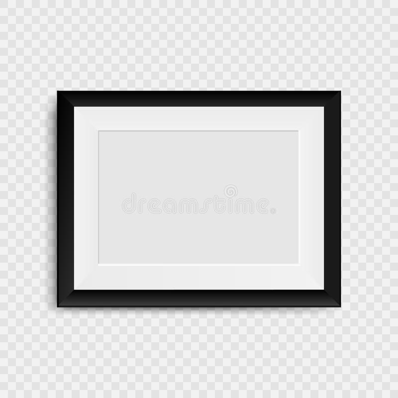 Blank photo frame on the wall. Realistic blank picture frame. On transparent background. Vector illustration. Eps 10 royalty free illustration