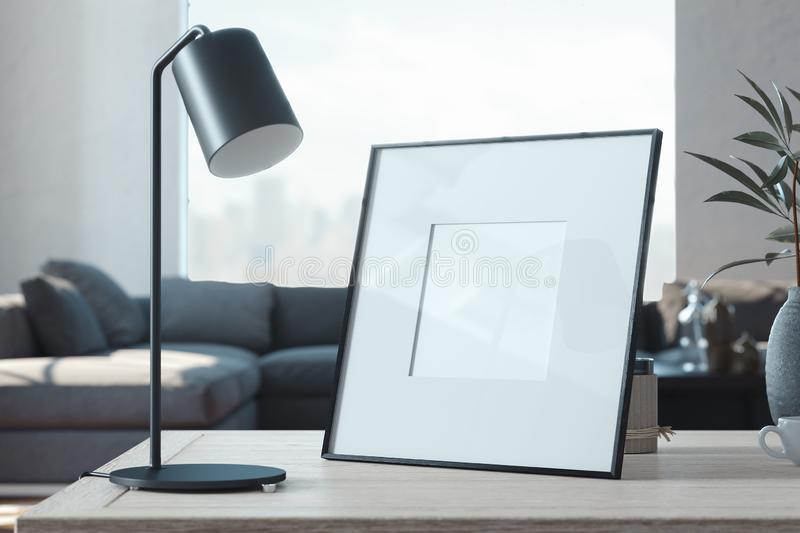Blank photo frame on wooden table in stylish living room. 3d rendering. royalty free stock photos