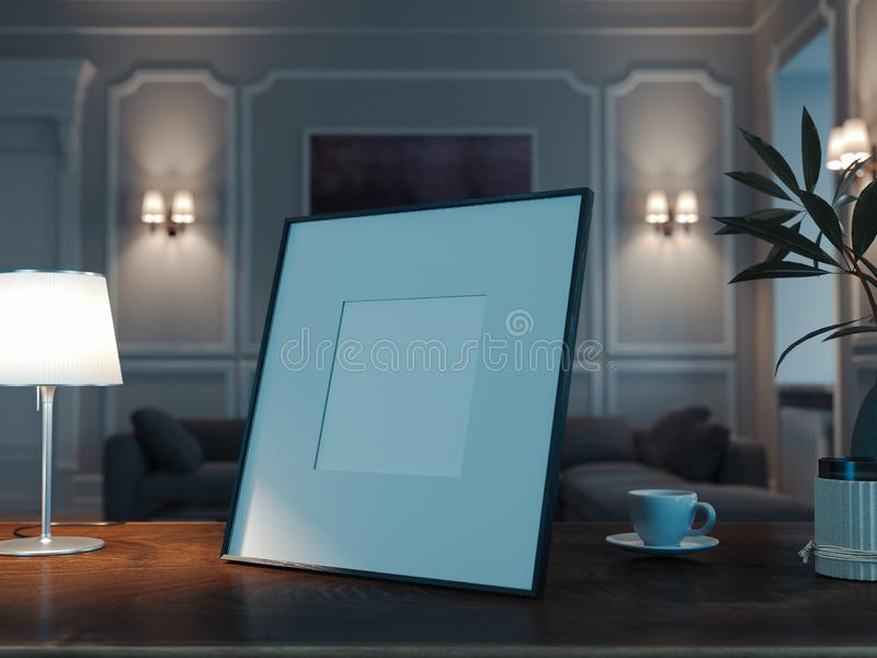 Blank photo frame on wooden table in stylish living room. 3d rendering. stock image