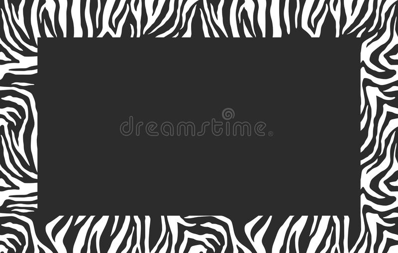Blank Photo Frame. Zebra pattern. Stylish stripes frame. For the cover design. Vector background. royalty free illustration