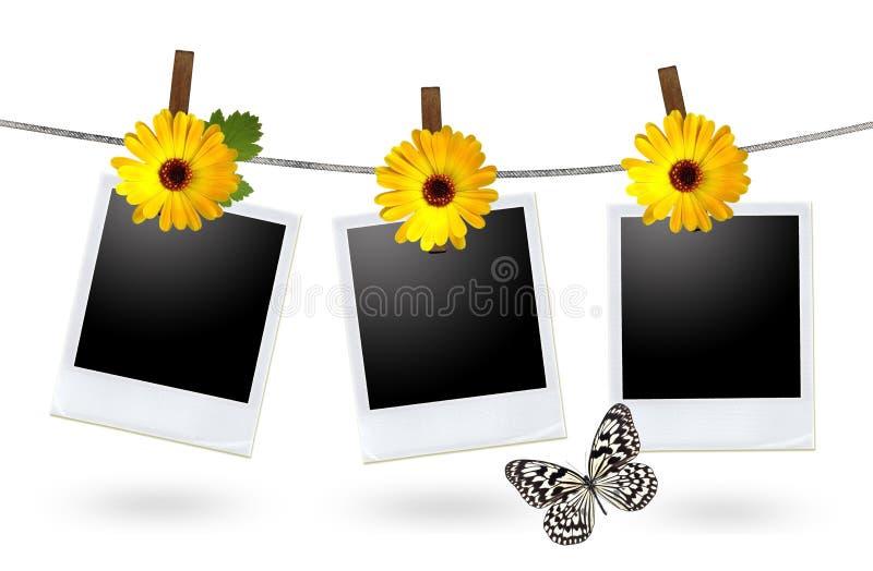 Blank photo frames on a clothesline vector illustration
