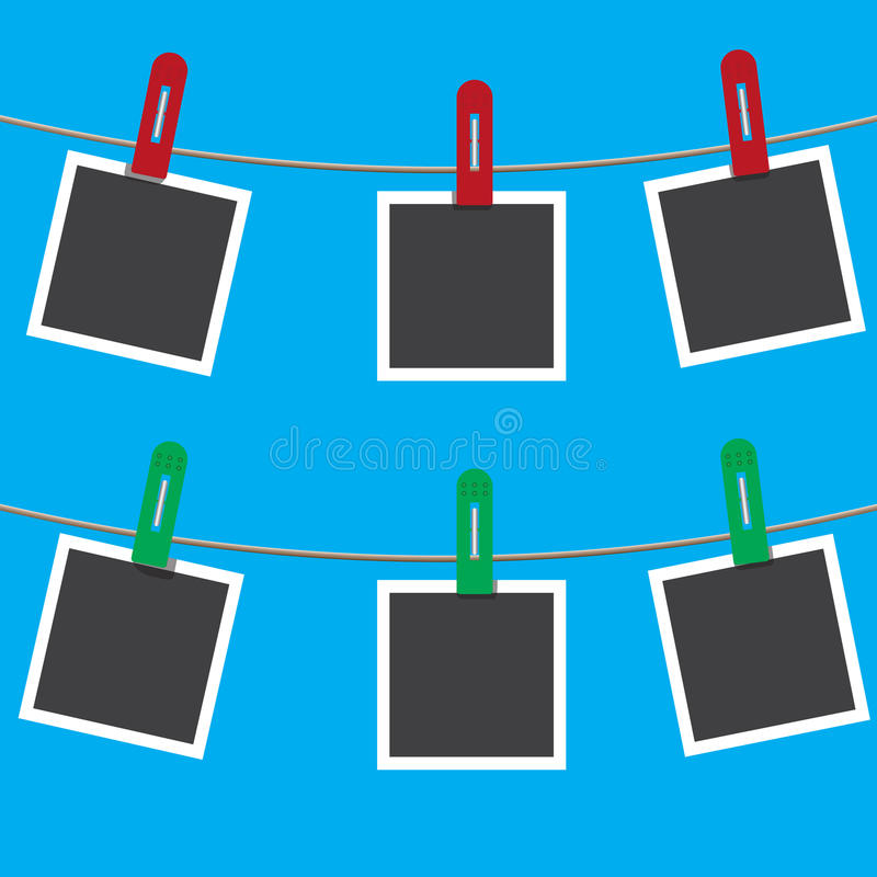 Blank photo frames on a clothesline. Vector illustration. vector illustration