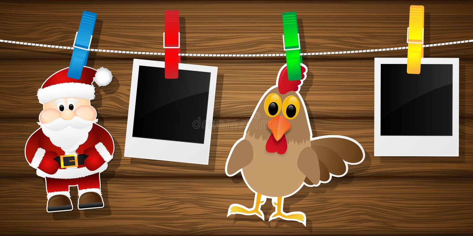 Blank photo frames, rooster and Santa Claus on a clothesline. vector illustration