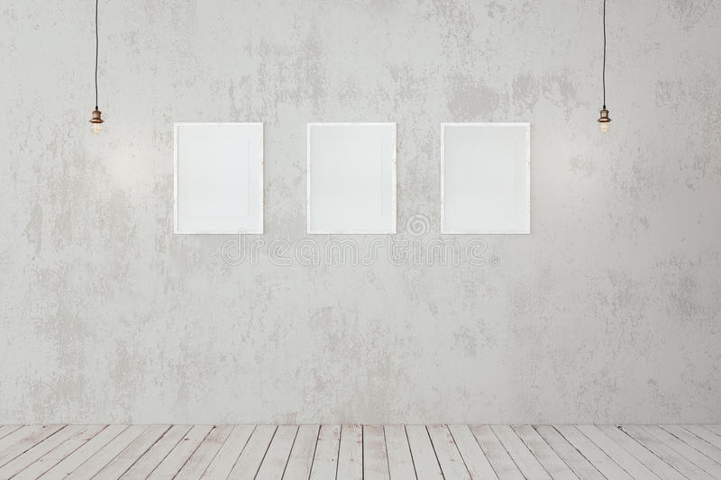 Blank photo frames on the wall royalty free stock images