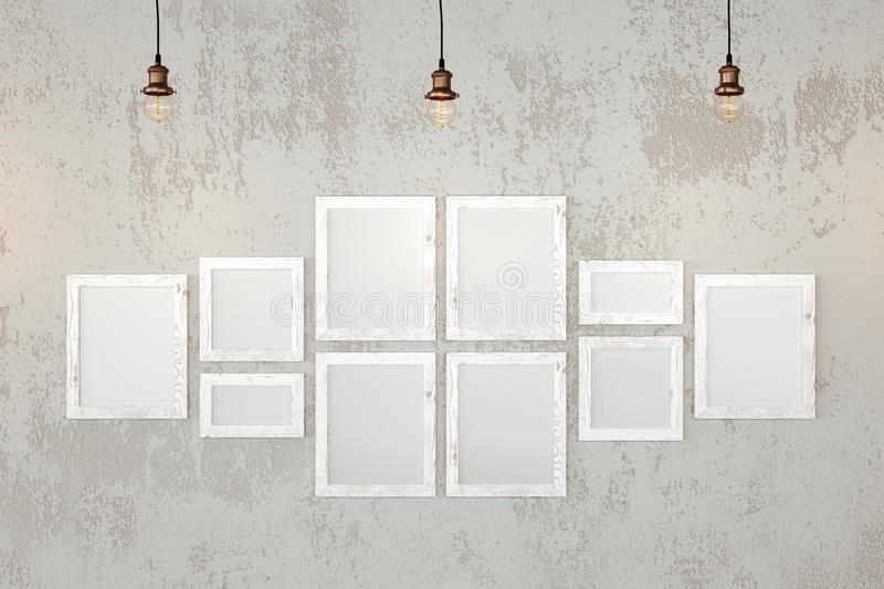Blank photo frames on the wall stock photo