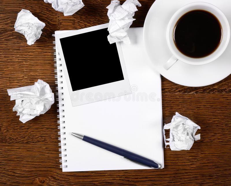 Blank Photo On Notepad With Pen Stock Photography