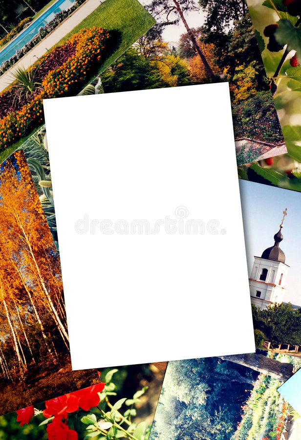 Blank photo paper. On colorful photos background stock photography