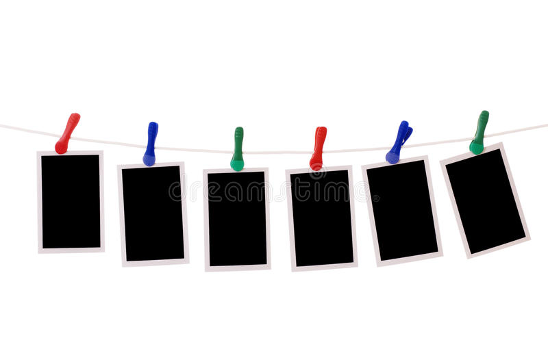 Download Blank Photos Hanging On A Clothesline Stock Image - Image: 22445307