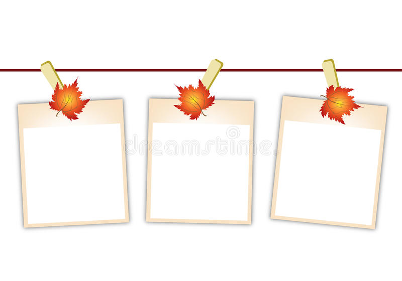Download Blank Photos With Maple Leaves Hanging On Clothesl Stock Vector - Image: 29696506