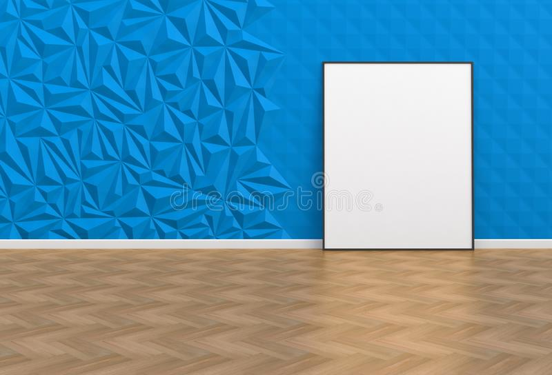 Blank picture in a blue room vector illustration