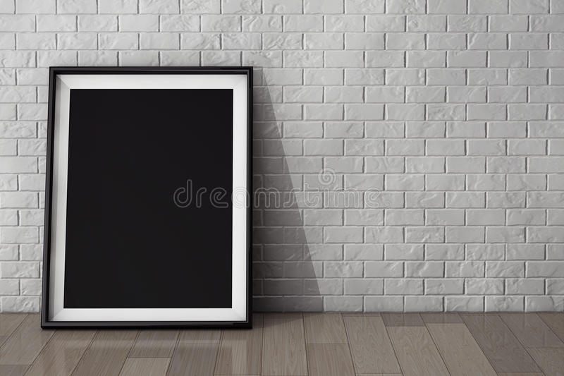 Blank Picture Frame on the Brick Wall and the Vintage Floor stock photo