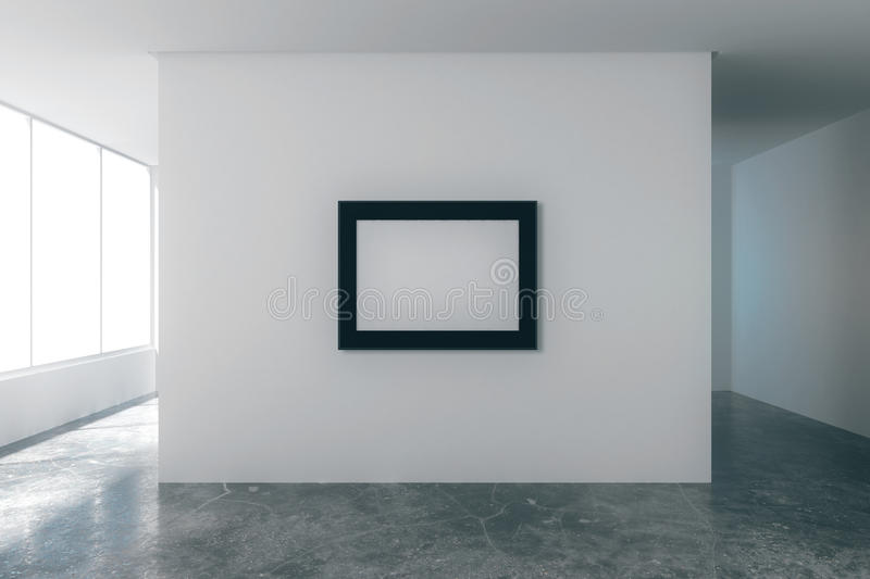Blank picture frame in empty loft room with white walls royalty free illustration