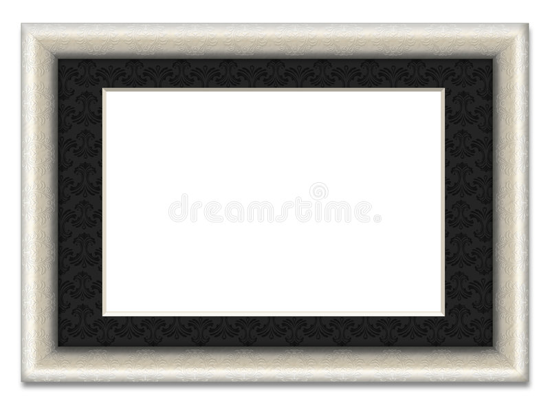 Blank picture frame with photo mount. Illustrated empty ornamental picture frame. Put your own Photo or image into it. Image contains clipping path for easy stock illustration