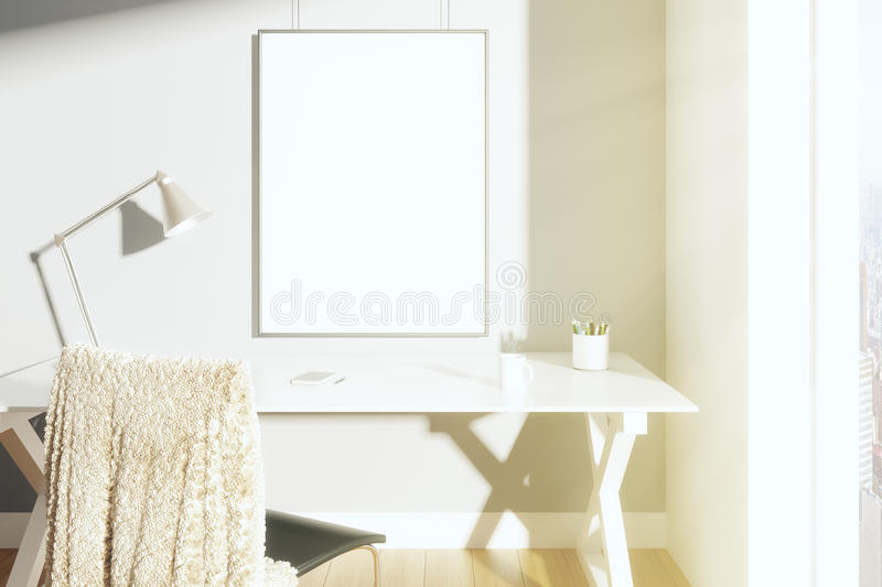 Blank picture frame on the wall in sunny room with lamp on the t royalty free stock photos