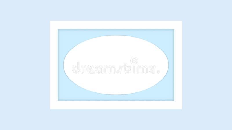 Blank picture frame white, framework wooden white on blue pastel background for picture, white frame on blue soft color isolated. The blank picture frame white stock illustration