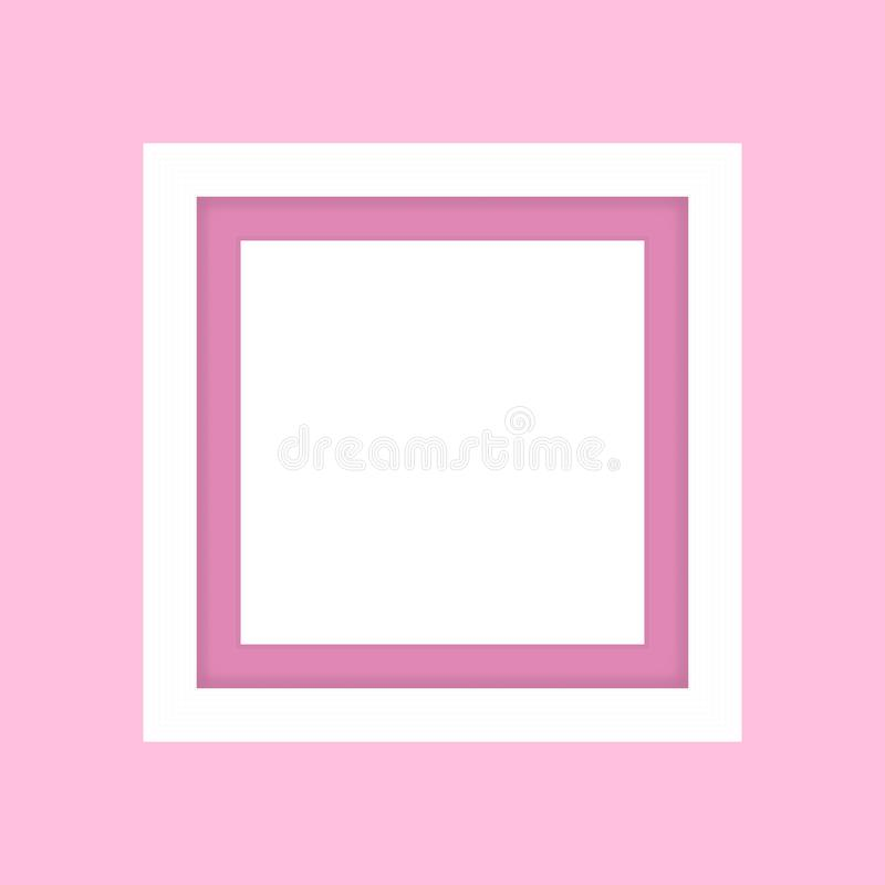 Blank picture frame white, framework wooden white on pink pastel background for picture, white frame on pink soft color isolated. The blank picture frame white vector illustration