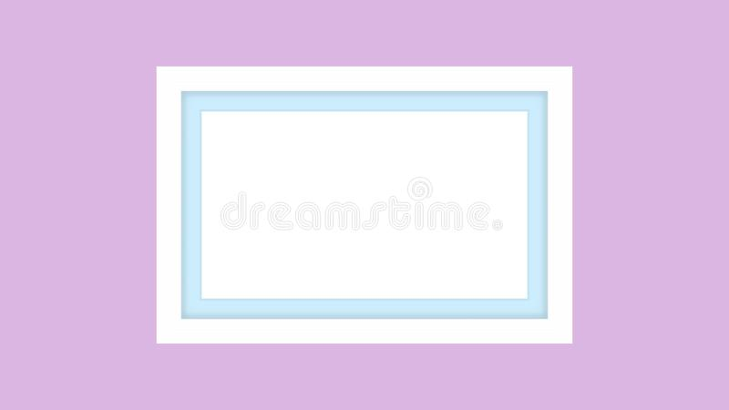 Blank picture frame white, framework wooden white on purple pastel background for picture, white frame on purple soft color. The blank picture frame white royalty free illustration