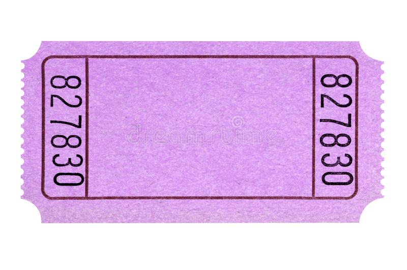 Blank pink movie or raffle ticket stub isolated white cutout royalty free stock image