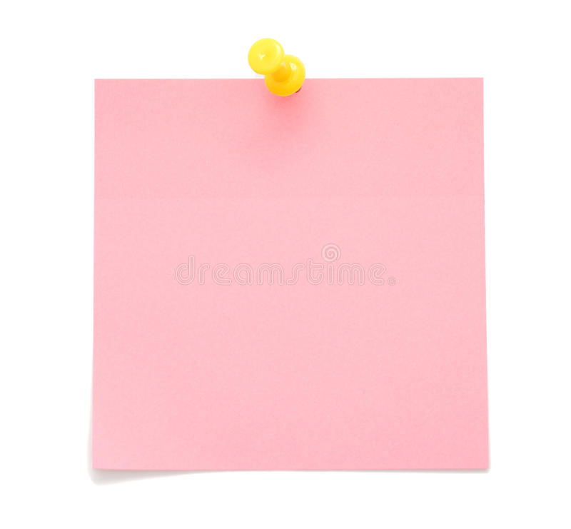 Blank pink post-it note royalty free stock image