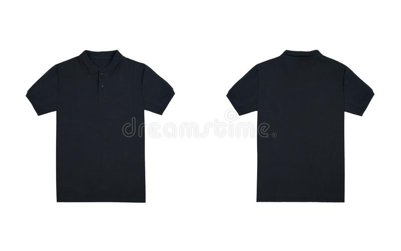 Blank plain black polo shirt with black stripe isolated on white background. bundle pack polo shirt front and back view. Ready for your mock up design project stock images