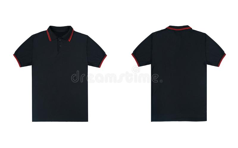 9a7ee650 Blank plain polo shirt black with red stripe color isolated on white  background. bundle pack